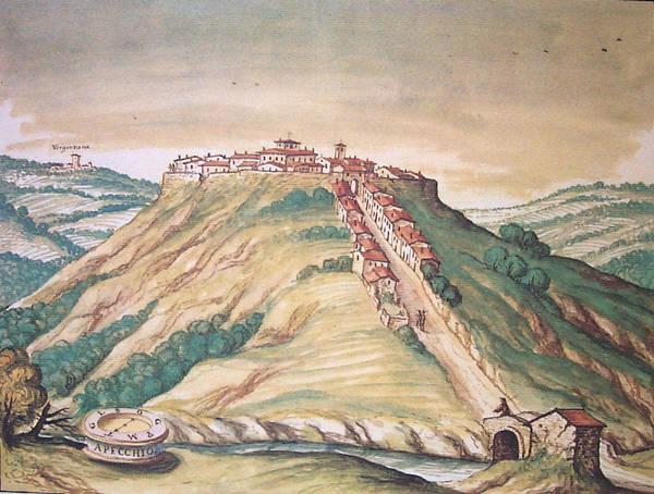 Vista di Apecchio in un dipinto del Mingucci